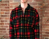 reserved for Ellie please do not buy vintage plaid Shirt Jacket 1960sWool Red and Green Bell Shirt Co Sportland Lumberjack Woodsman