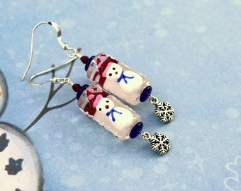 Snowman Earrings, Lampwork Snowman Earrings, Christmas Earrings, Holiday Earrings, Winter Earrings, Snowflake Earrings, Snowman Jewelry