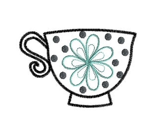 Teacup III Machine Embroidery Design-INSTANT DOWNLOAD