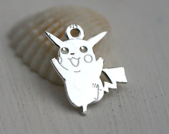 Silver Pikachu Pokemon charm, Sterling silver 925, Pokemon game, Pikachu pendant, 13mm - 1pc - F499