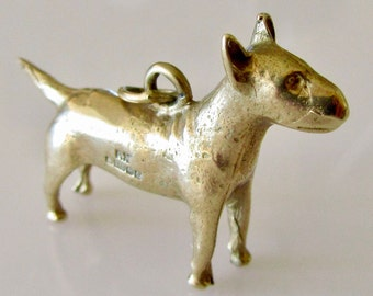 RESERVED     Large Solid 9ct Gold Bull Terrier Dog Charm or Pendant
