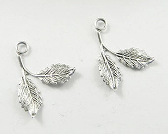 Antiqued Silver Brass Leaves, Brass Leaf Charm, Brass Stamping, Leaf Drop, 16mm x 21mm - 6 pcs. (sl144)