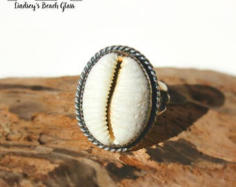 Hawaiian Granulated Cowry Shell Set in Sterling Silver Handcrafted Ring - Size 5