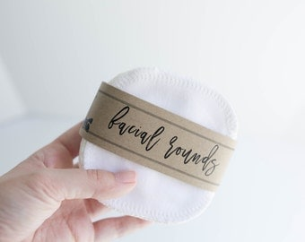 """Organic Facial Rounds +  Organic Thread  Face Cloth - Make-up Remover - Facial Rounds - 4"""" Face Wipes - Choose your quantity  -  White"""