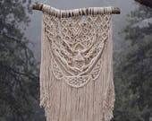 Big Boho Macrame Wall Hanging, Bohemian Cream Tapestry / Yarn Hanging, Shabby Chic Fringe Home Decor  / THE CORONADO HANGING