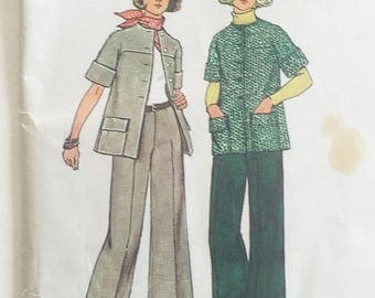 Simplicity vintage pattern 6529, 1970s fashion pantsuit, unlined jacket and flared pants, out of print sewing pattern