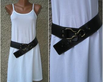Vintage Italian black genuine leather belt