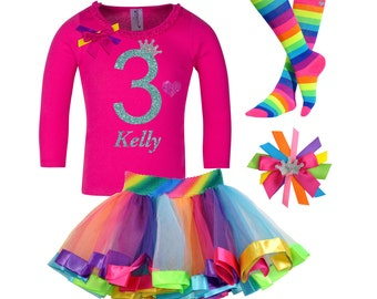 3rd Birthday Outfit  Girls Birthday Outfit Rainbow Birthday Party Rainbow Tutu Set Birthday Hair Bow Rainbow Socks Personalized Name 3