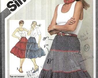 Vintage Square Dance Skirt Pattern, Western Skirt Pattern, Tiered Skirt, Twirl Skirt, Elastic Waist Pull On Skirt, Size 12, Waist 26