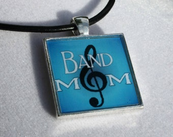 Marching Band Jewelry - Band Mom Square Resin Pendant, Band Pendant, Band Mom Jewelry, Band Parent
