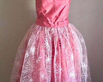 Vintage 1950s Pink Tea Length Off-the-Shoulder Formal Prom Dress Tulle Apron XXS XS