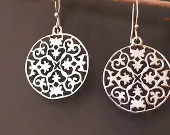 Silver Filigree Round Earrings, Fancy, Dangle, Big Ornate Earrings, Floral, Cut Out Design, Sterling Silver