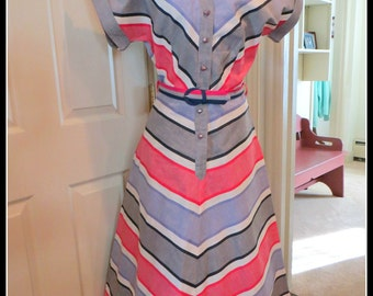 Vintage 1940s Cotton Day Dress Chevron Stripe Rockabilly VLV Small