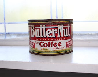 Vintage Butter Nut Coffee Tin Rustic Farmhouse Decor