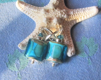 Dark Aqua Artisan Glass Bead Earrings, Teal Everyday Earrings in Square Shape on Sterling Lever Backs, Stunning Bubbles in Deep Aqua, Gift