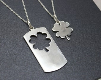 Mother Daughter Necklace Mom and Daughter Necklace Clover Four Leaf Clover Necklace 4 Leaf Clover Charm Sterling Silver Clover Necklace 925