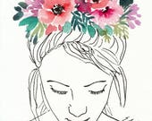"Watercolor Flower Crown, original painting, ""Flower Prayer"", 5x7, watercolor illustration, flower girl, watercolor flowers, watercolor girl"