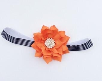 Orange baby girl headband toddler headband flower headband matilda jane m2m flower infant newborn headband