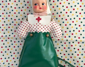 Vintage Little Girl's Purse ~~ Doll Purse ~~ 1940's Dolly Purse ~~ Purse with Red Polka Dots