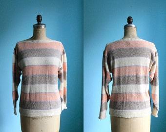 Vintage 80s boatneck striped sweater / pastel / pink purple brown cream / silk blend womens size medium large