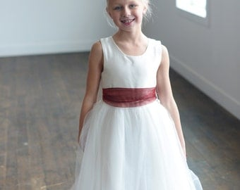The Ruby organza flower girl dress, first communion dress, junior bridesmaid dress, with ruby red organza sash