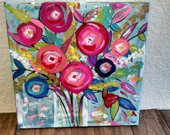 Abstract floral vase colorful painting 12x12