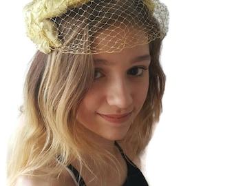 Yellow Fascinator Hat With Veil Tea Party Hat Fascinator Headband Kentucky Derby Fascinator Womens Hats Reenactment Hat Vintage Hats