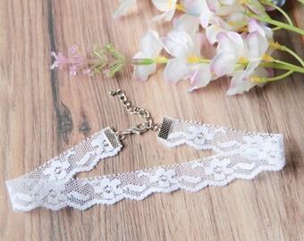 Floral white lace choker necklace | Classic choker | Dainty choker |  Delicate choker | Flower jewelry | Lace jewelry |