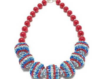 Toddler or Girls Red, White and Blue Chunky Necklace - American Flag Necklace - Fourth of July Necklace - Patriotic Chunky Necklace