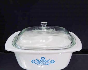 Dutch Oven 4 Qt Corning Ware Blue Cornflower P 34 B Vintage Grandmas Kitchen