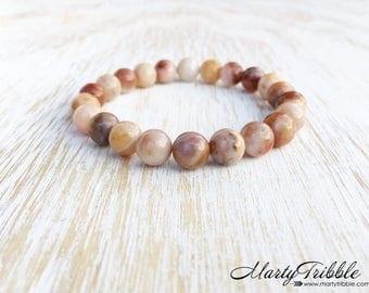 Agate Bracelet, Earthy Jewelry, Boho Bracelet, Gemstone Bracelet, Agate Jewelry, Beaded Bracelet, Neutral Bracelet, Stretchy Bracelet, Vegan