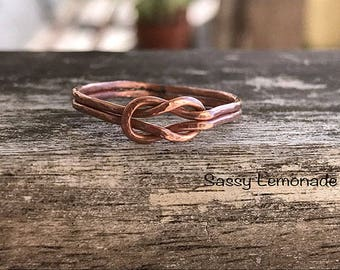 Double Knot Ring / Copper Knot Ring / Promise Ring / Thin Minimalist Jewelry / Dainty Ring / Sailor Knot