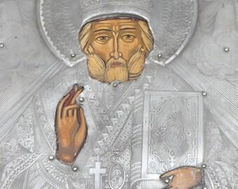 1800's Russian Orthodox Saint Nicholas Icon , Antique Hand Painted Saint Nicholas