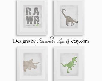 Dinosaur Art Print - Set of four 8x10 - Neutral Dinosaur Art - Designer Set 13