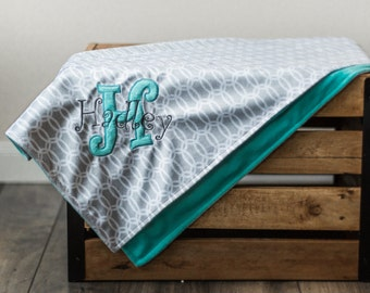 Personalized Baby Blanket, Minky Plush Turquoise teal and Grey, Baby Girl or Boy Monogrammed Gift