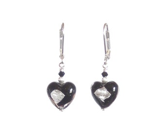 Murano Glass Black Silver Earrings, Venetian Glass Jewelry, Italian Jewellery, Leverback Earrings