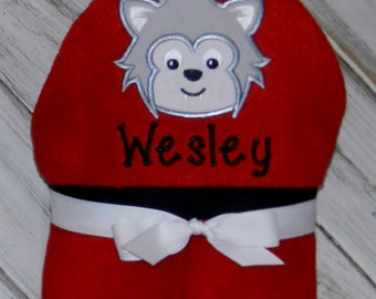 Personalized Hooded Wolf Towel