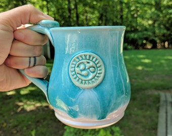 Turquoise Yoga Mug, Om, Yoga gift, Ceramic Mug, 14oz Ready to Ship