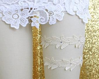 Wedding Garter Set, Cream Ivory leaves Lace Wedding Garter Set, Ivory  Lace Garter Set, Wine Lace Garter Belt