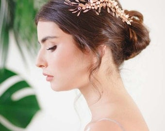 Freya Enamelled Botanical Hair Vine, Rose Gold Bridal Headpiece, Bridal Hair Vine, Pearl Wedding Hair Vine