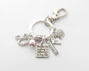 Personalized TEACHER Keychain, Teacher Gift, Gifts for Teachers Appreciation, Thanks for making a difference in my life, End of year gift