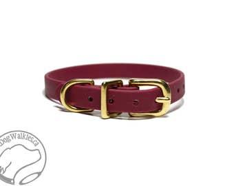 "Wine Merlot Little Dog Collar - 1/2"" (12mm) Thin Beta Biothane Dog Collars - Waterproof Small Dog Collar - Maroon - Burgundy"