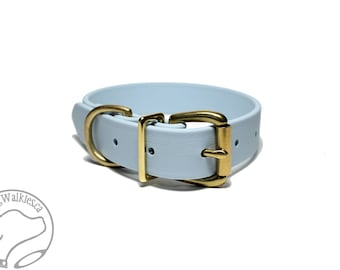 "Biothane Dog Collar - Pastel Baby Blue Dog Collar - 1"" (25mm) Wide - Waterproof - Leather Look and Feel - Stainless or Brass Hardware"