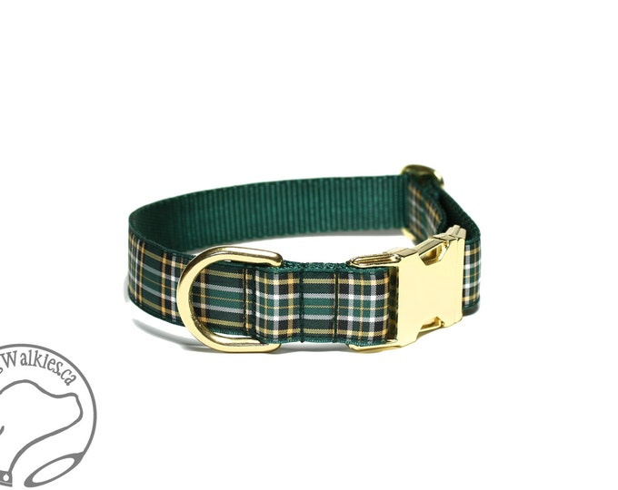 """Featured listing image: Irish National Tartan Dog Collar - 1""""( 25mm) - Green and Gold Plaid Dog Collar - Martingale or Quick Side Release - Choice of style and size"""