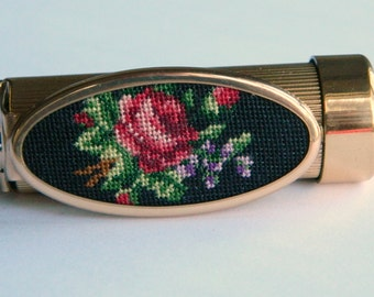 Beautiful Vintage 1940's or 50's Floral Petit Point Lipstick Tube or Holder w/ Flip Mirror- Rose Needlepoint Black Gold German Beauty Makeup