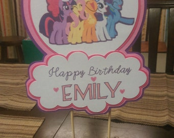 My Little Pony Centerpiece Personalized With Name for Birthday Parties, Centerpiece, Cake Topper for My Little Pony Party