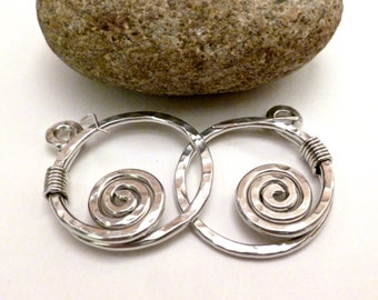 Wire Wrapped Jewelry Handmade Aluminum Wire Earrings Spiral Earrings Silver Wire Earrings Hammered Earrings Wire Wrapped Earrings Artisan