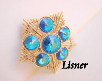 Vintage Blue Rivoli Rhinestone Lisner Goldtone Brooch Designer Signed Star Motif Retro Jewelry Jewellery