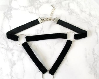 Original Design Velvet Hoop Triangle Choker Necklace Black Dark Harness Style Collar Jewelry , Gothic goth Punk Witch Wicked steampunk