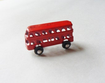 Tiny Red Double Decker Bus, Miniature Toy Tour Bus